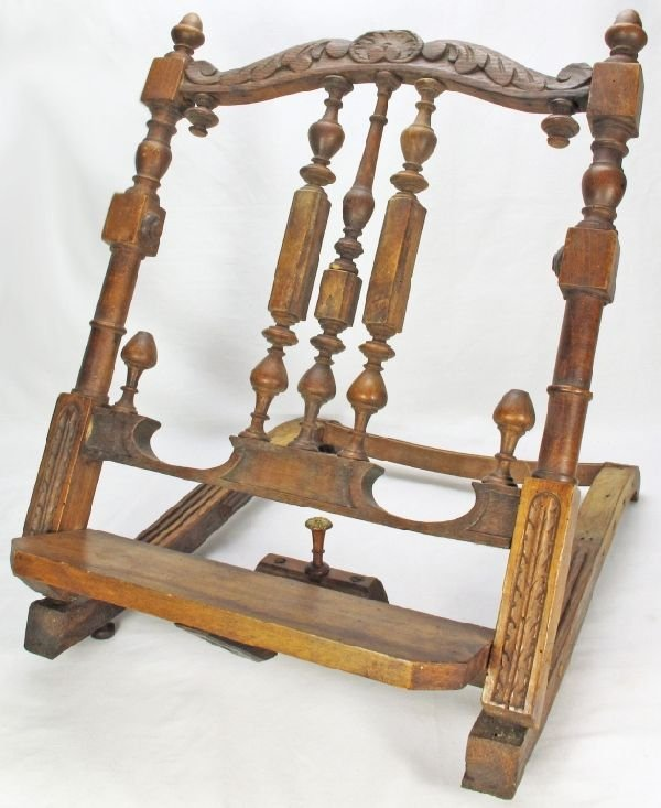 Wooden Bible Stand ~ Antique wooden folding book stand