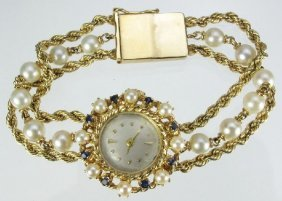 LADY�S 14K BRACELET WATCH WITH PEARLS SAPPHIRES
