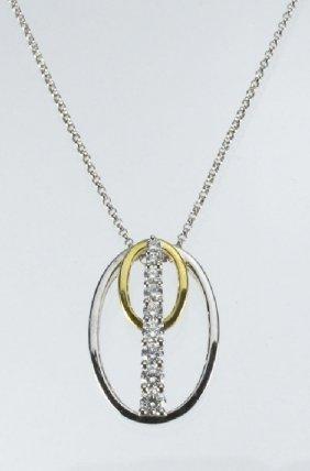 Lady's Diamond Oval Pendant 18K Two Tone