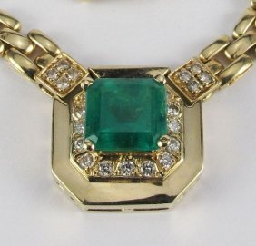 Emerald And Diamond Necklace 14K