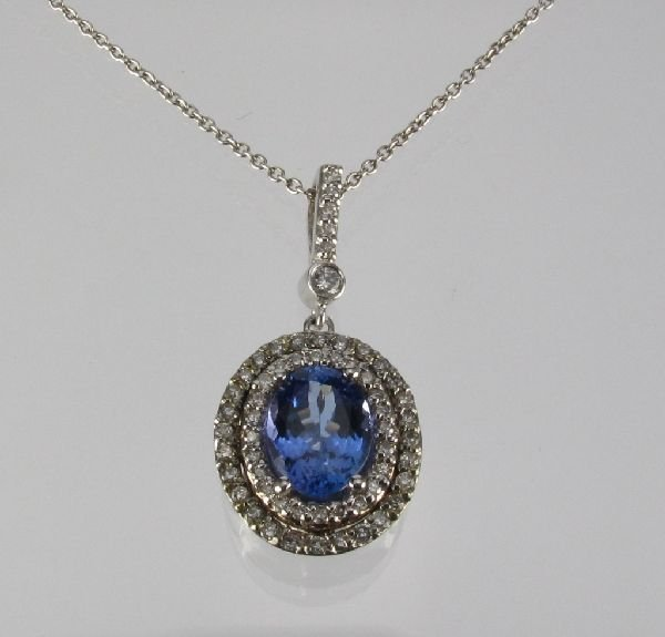 97: Tanzanite and Diamond Pendant Necklace 14K W Gold