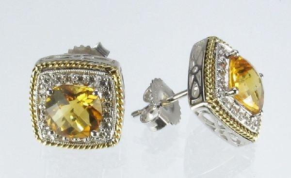 98: Citrine and Diamond Earrings 14K Two Tone