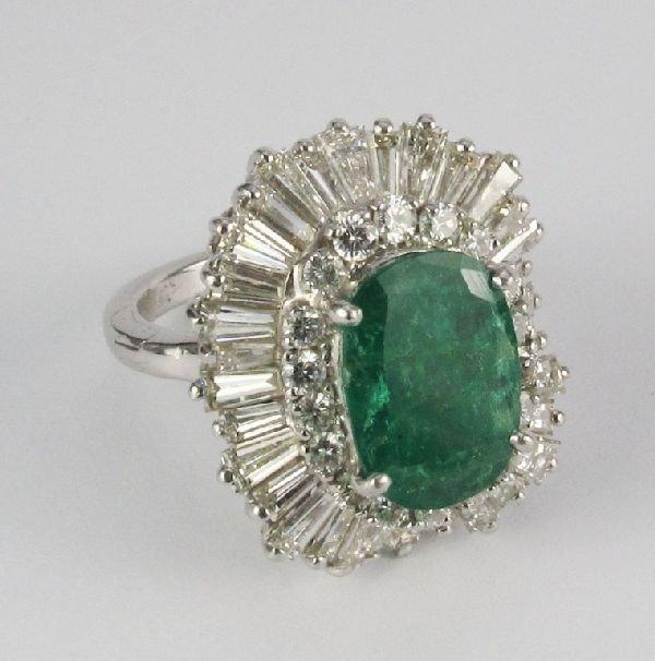 101: Platinum Emerald Diamond Ring Pendant Cocktail Era