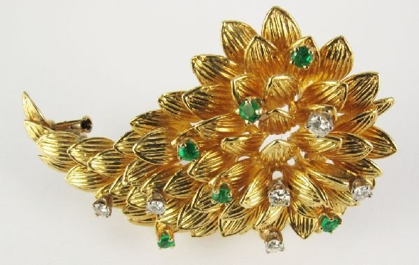 104: Signed Van Cleef & Arpels Brooch 18K Emeralds Diam