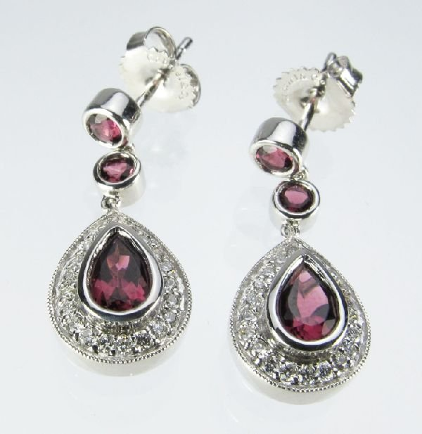 108: Diamond and Pink Tourmaline 14K White Gold Earring