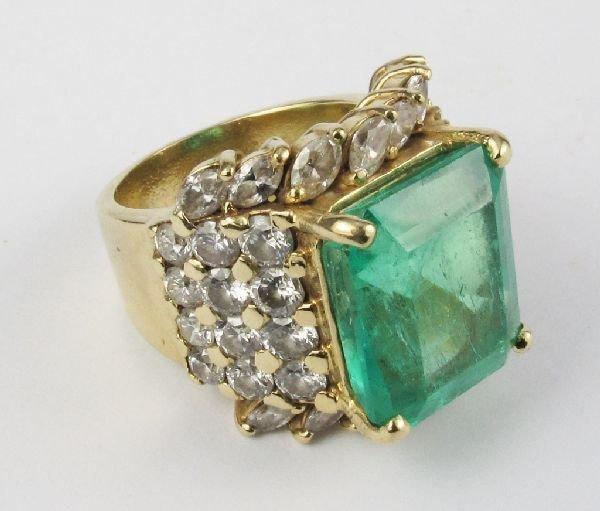 109: Emerald and Diamond Ring 14K