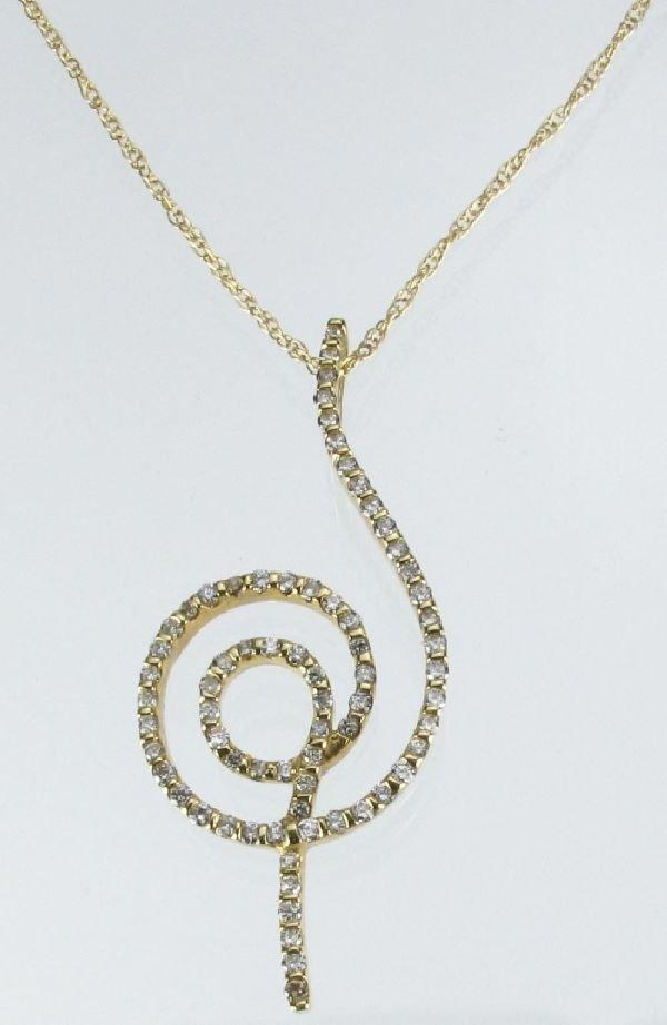 113: 14K Necklace with Diamond Swirl Pendant