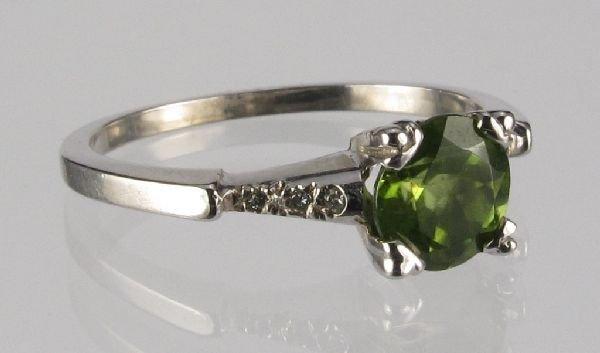115: Peridot and Diamond Ring 14K White Gold