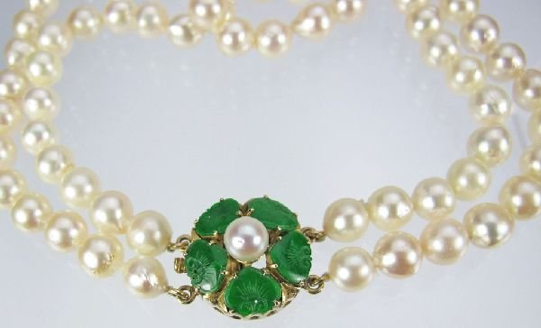 116: Double Strand Akoya Pearl Necklace 14K