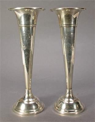 Pair Sterling Silver Trumpet Vases