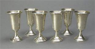 Set of 6 Sterling Silver Cordial Cups