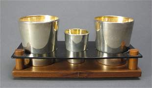Sterling-covered Glass Cups and Shot Glass