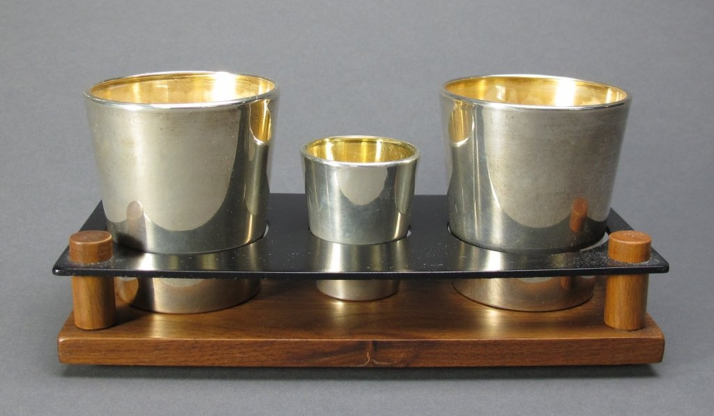 12: Sterling-covered Glass Cups and Shot Glass
