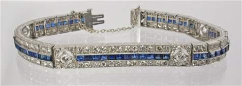 32: Cartier Diamond and Sapphire Art Deco Bracelet