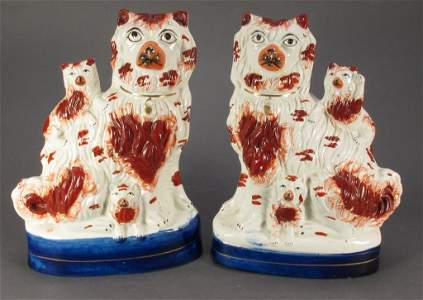 104: Pair 19th C Staffordshire Figural Groups, Dogs