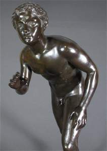 132: Bronze Nude Male Athlete Runner 1800s