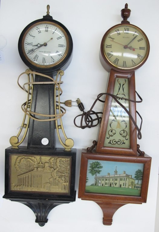 474: 2 Electric Banjo Clocks General Electric Herschede