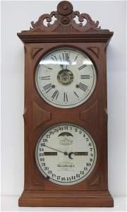 495: Ithaca Double Dial Calendar Clock with Alarm