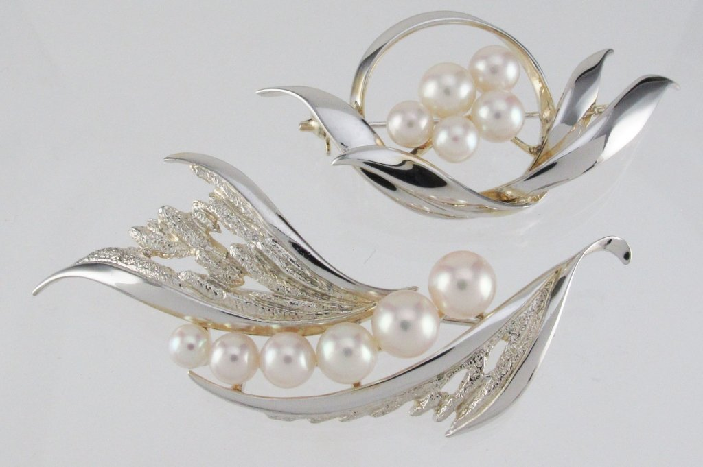 2 Mikimoto Sterling and Pearl Brooches Ca. 1960