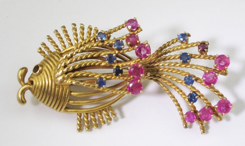 14K Fish Pendant with Rubies and Sapphires