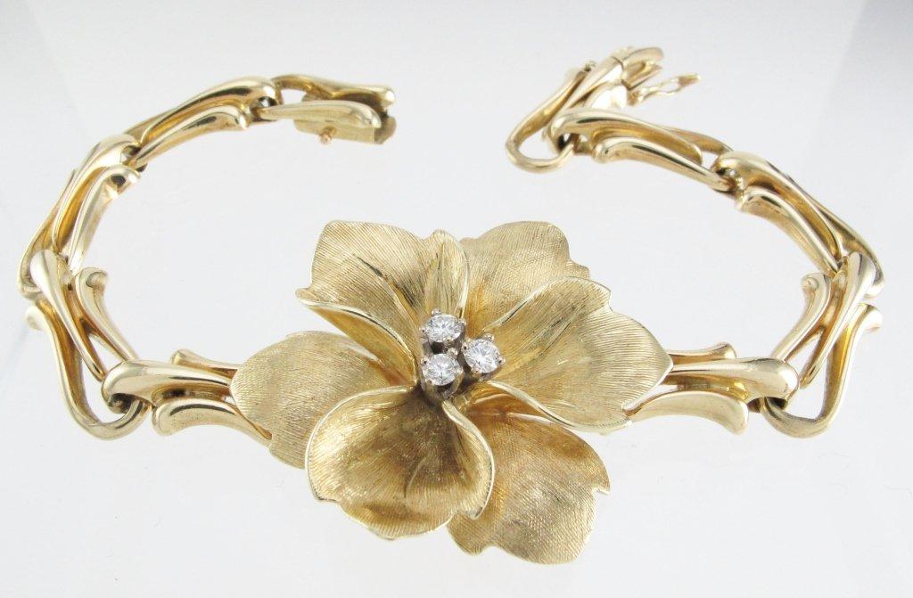 14K Yellow Gold Diamond Flower Bracelet