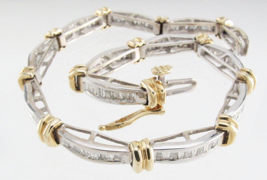Two Tone 14K Diamond Tennis Style Bracelet