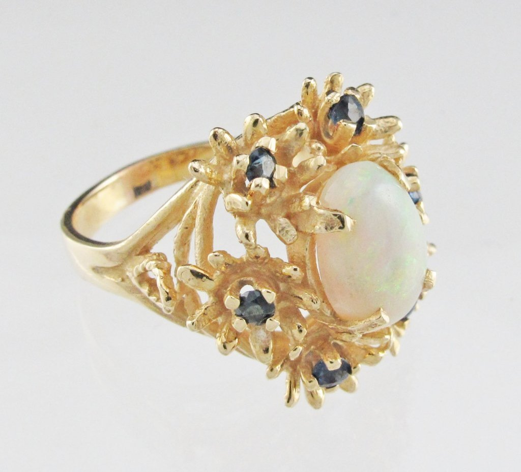 Opal and Blue Sapphire Ring 14K