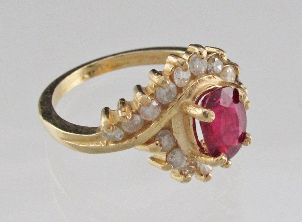 Lady's Ruby Diamond By-Pass Ring 14K