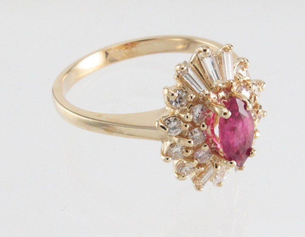 Lady's Yellow 14K Ruby and Diamond Ring