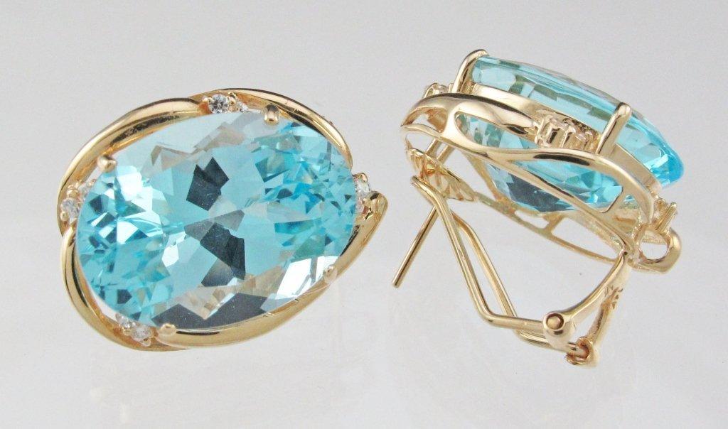 14K Topaz Diamond Earrings
