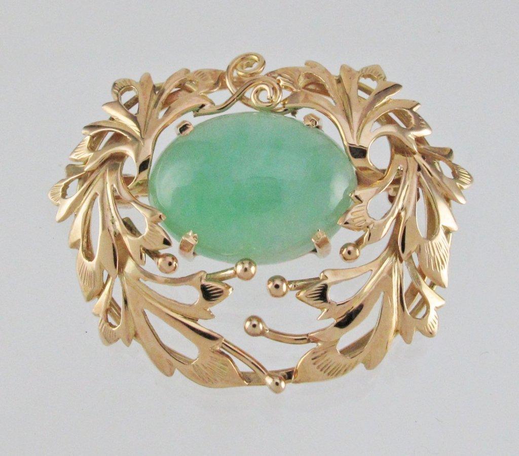Green Jadeite Jade Brooch 14K Signed Ming's