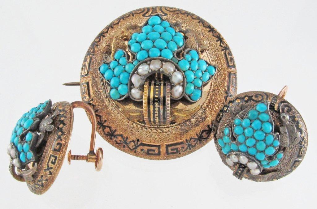 CA 1860 14K Turquoise Seed Pearl Brooch/Earrings