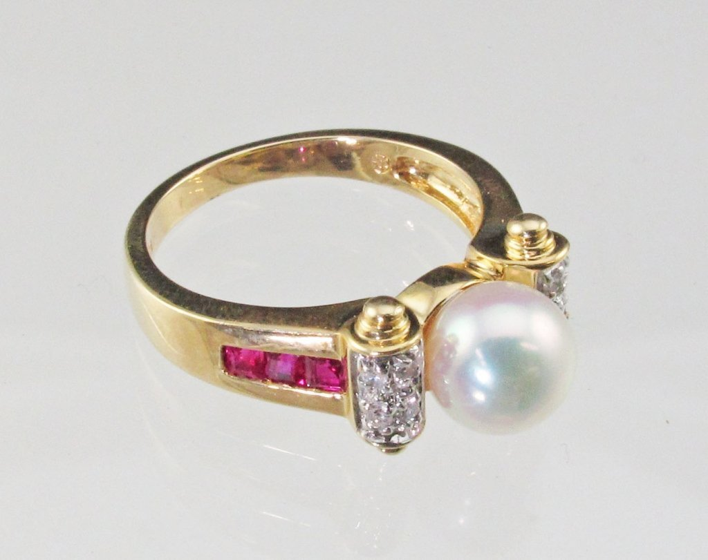 14K Diamond and Ruby Pearl Ring
