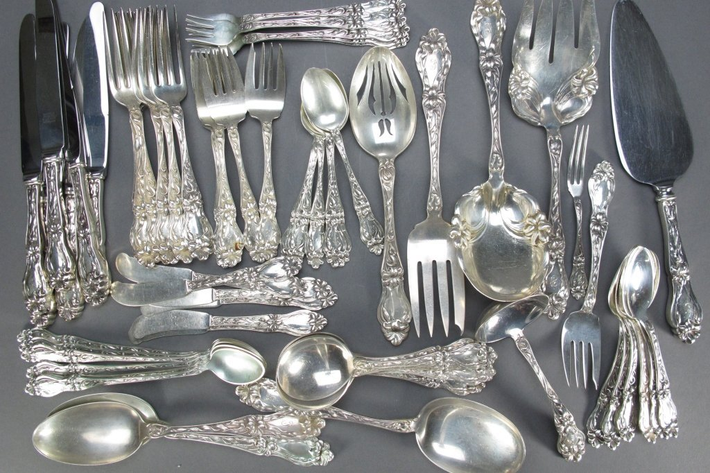 """62 Pcs Whiting Sterling Silver """"Lily"""" Flatware"""