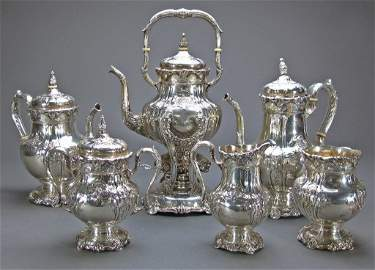 7 Pc Sterling Silver Tea Service Hand Chased