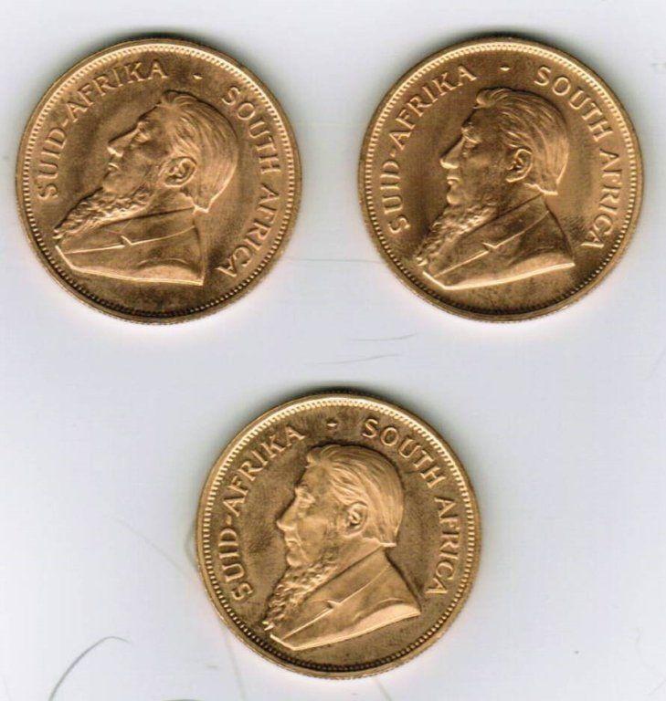 Three 1 oz 1978 Krugerrand Gold Coin