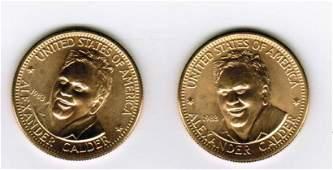 Two 1983 American Arts Commemorative 1/2 Oz Gold