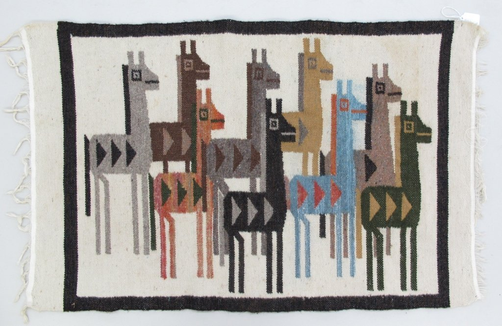 Native American Hand-spun wool woven tapestry