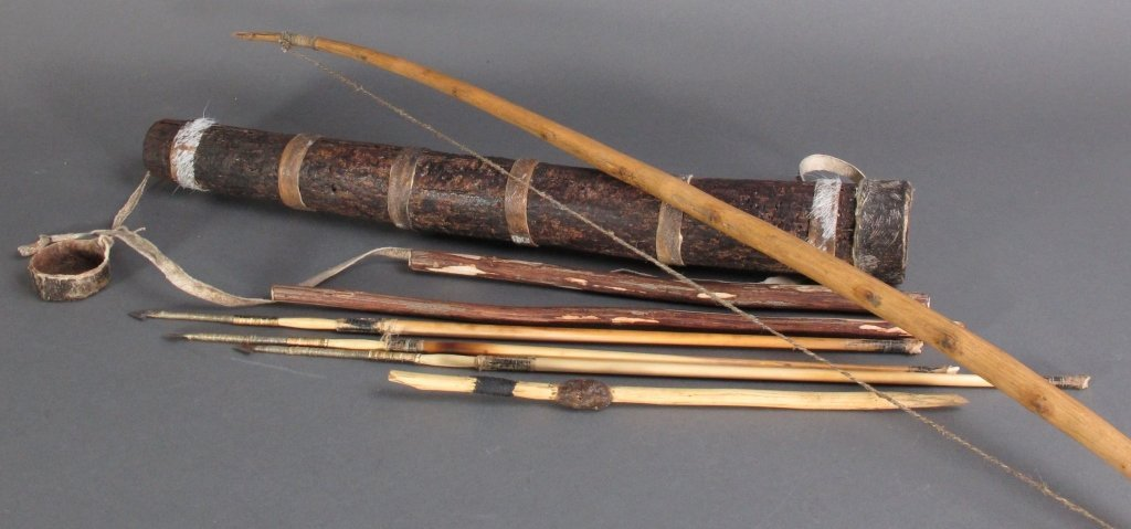 African Tribal Quiver Bow Arrows Fire Sticks