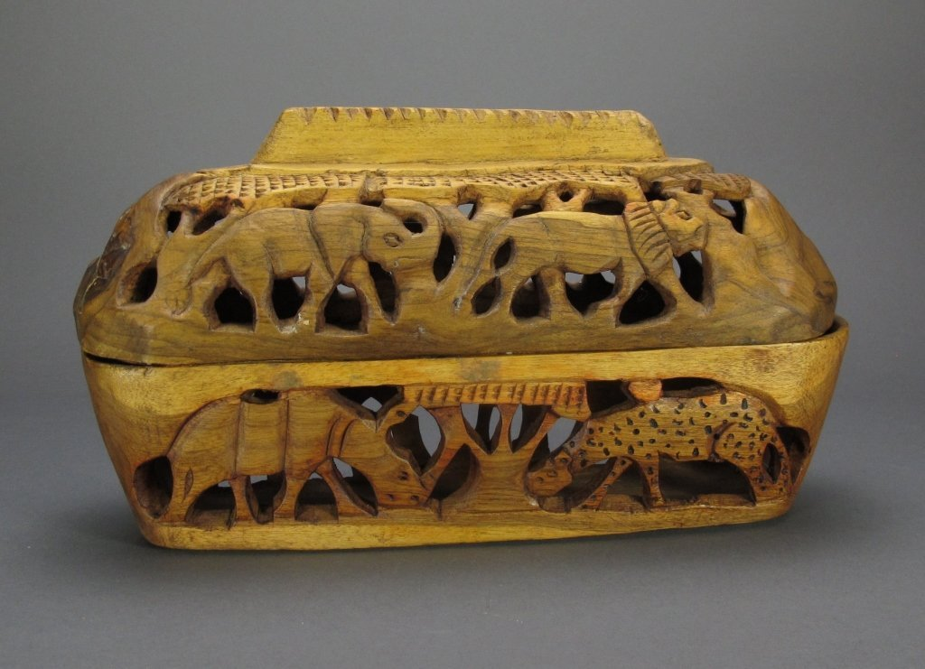 African Carved Wooden Bread Basket from Cape Town