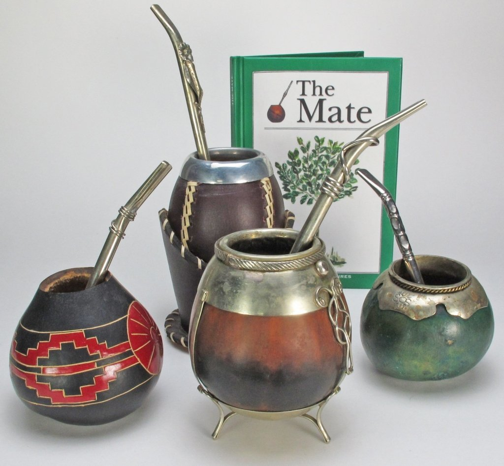 4 Argentinean Gourd & Silver Mate Cups & Straws