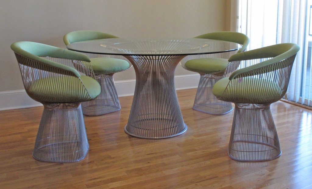 Warren Platner Glass Top Dining Table, 4 Chairs