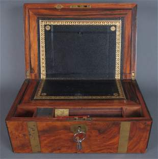 19th C Brass Bound Lap Desk