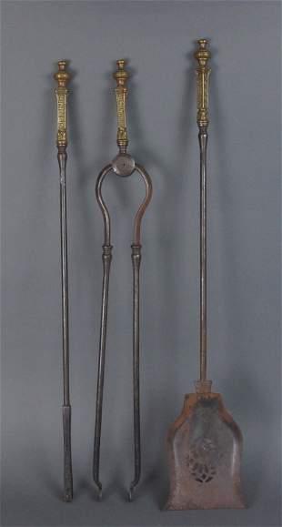3 Pc Set English Brass & Iron Fireplace Tools