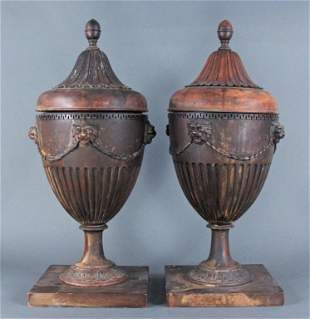 18th C Pair Sheraton George III Wooden Knife Urns