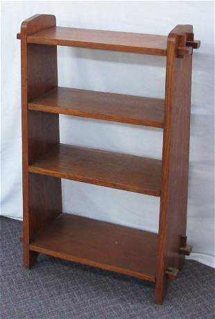 Hand-Constructed Open Bookcase Mission Oak