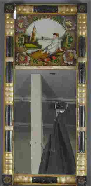 Federal Eglomise Wall Mirror, Child Removing Shoe