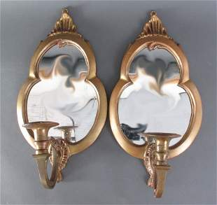 Pair of Mirrored Brass Wall Sconces