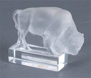 Signed Lalique France Crystal Buffalo Figure