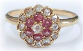 Ca 1875 14K Pink Sapphire and Diamond Ring